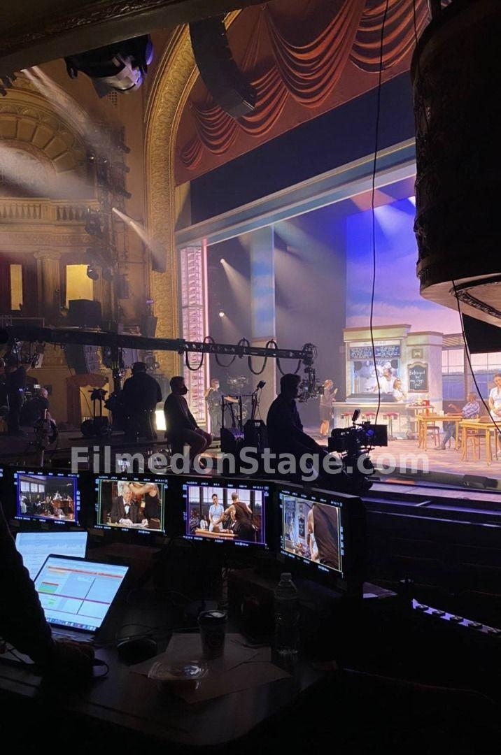 Waitress filming on Broadway